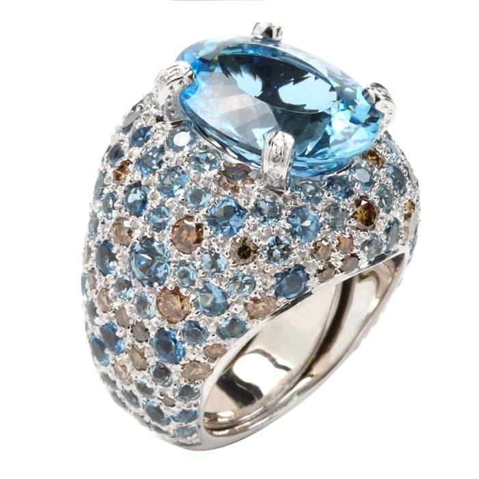 Studded Aqua and Diamond Ring