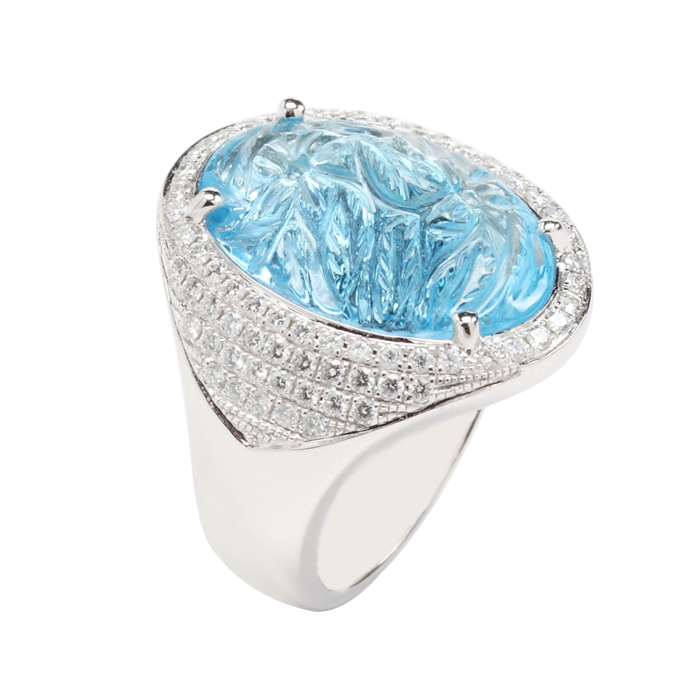Oval Carved Blue Topaz ring