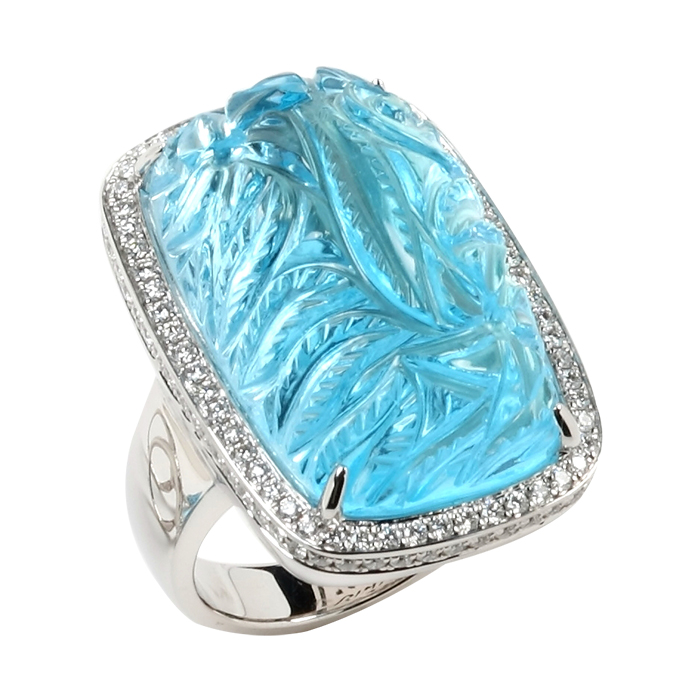 Bold Carved Blue Topaz Ring