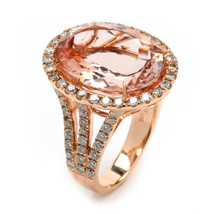 Round Faceted Morganite Ring