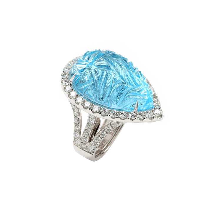 Pear Shape Carved Blue Topaz Ring