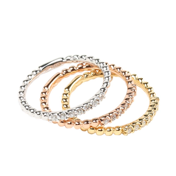 Tricolor Diamond Stack Rings