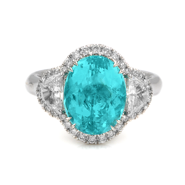 Platinum oval paraiba ring
