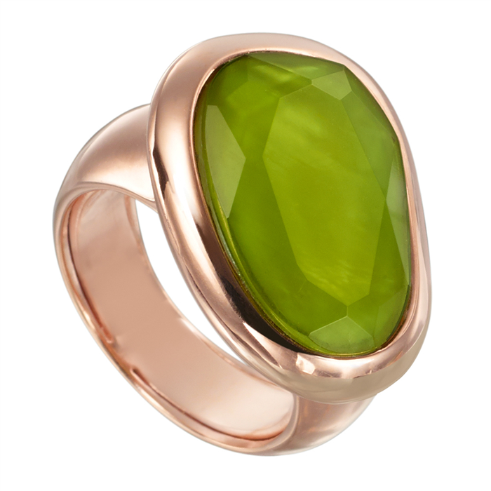 Lime green quartz ring