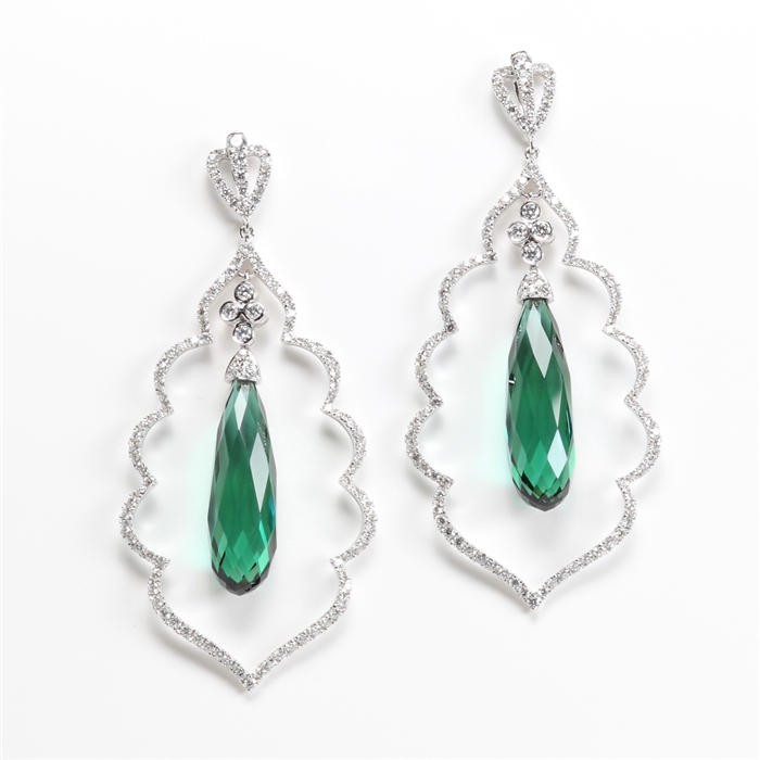 Green tourmaline & Diamond Exotic Earring