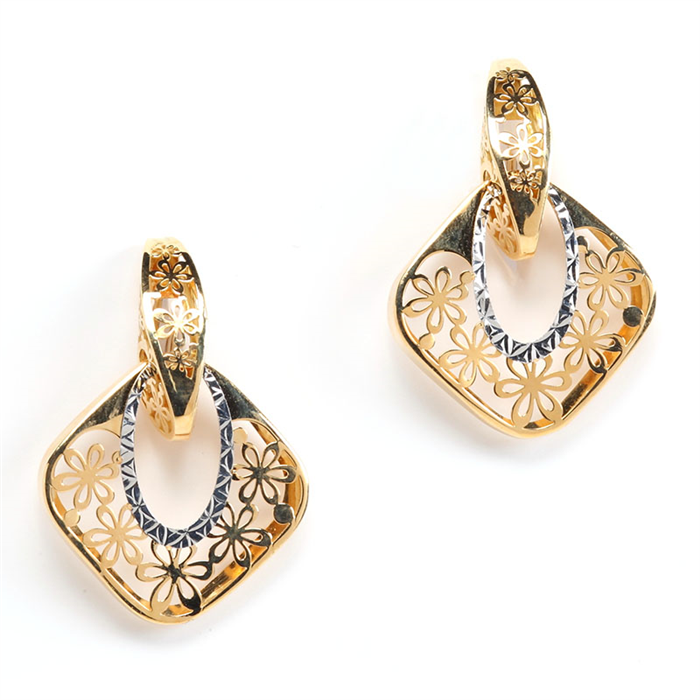 Flower Design Ajoure Style Gold Earrings