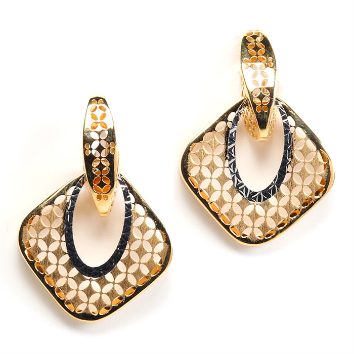 Diamond Shape Ajoure Style Gold Earrings