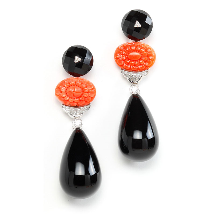 18K Earrings with Carved Coral and Black Onyx