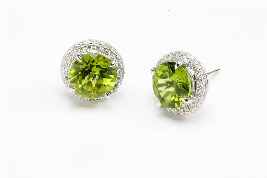 Peridot and Diamond bUTTON Earring
