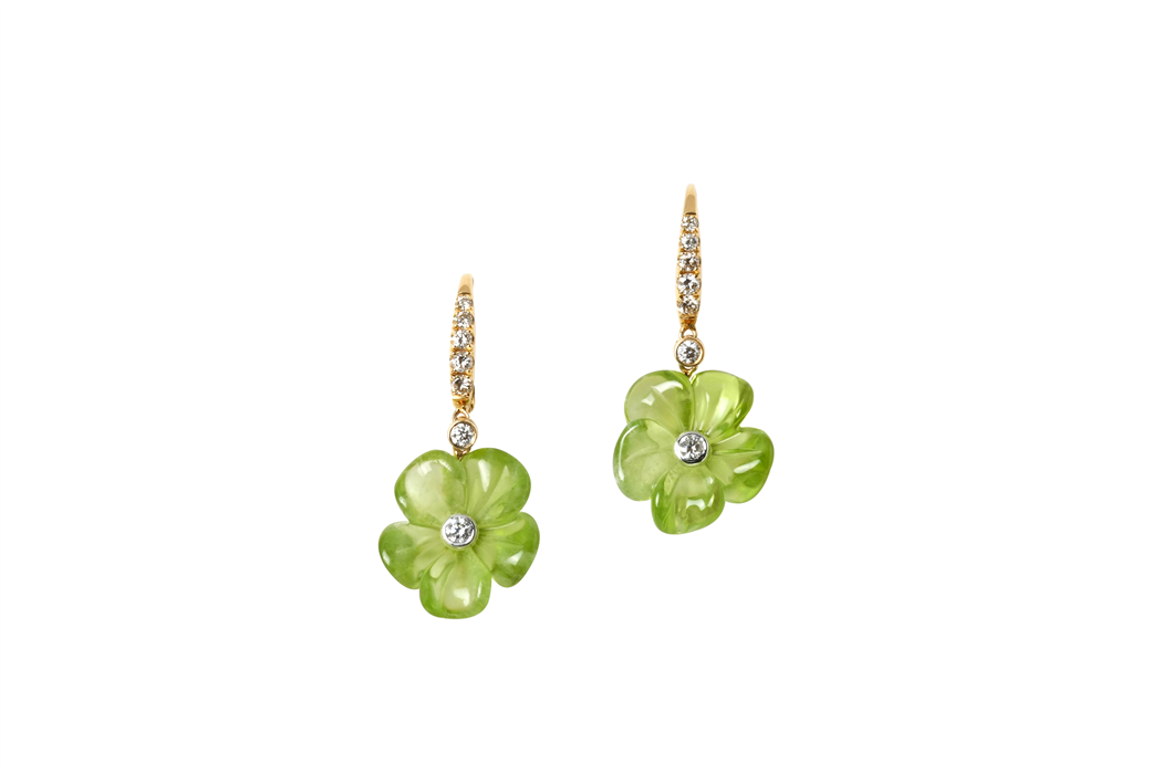 PERIDOT FLOWER DANGLING EARRINGS