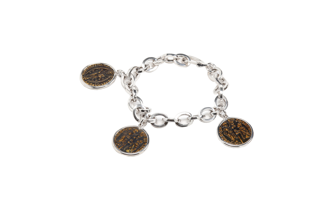 Small Silver Coin Charm Bracelet