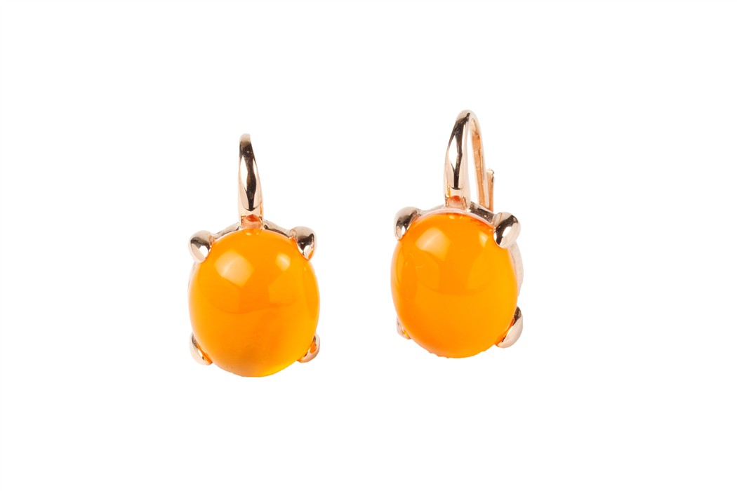 Orange Color Crystal Bubble Earrings