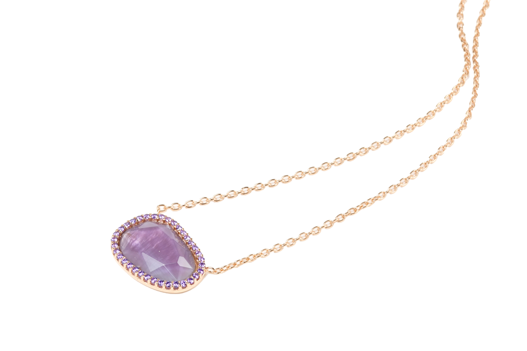 Purple Crystal with Zircon Pendant Necklace