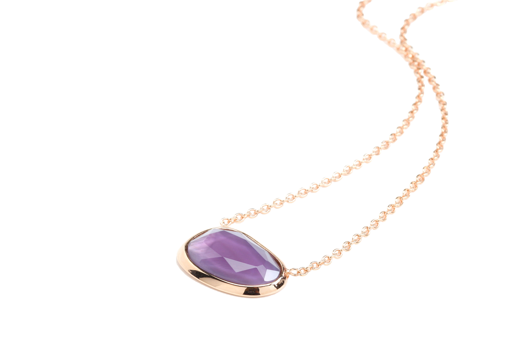 Purple Color Crystal Pendant Necklace