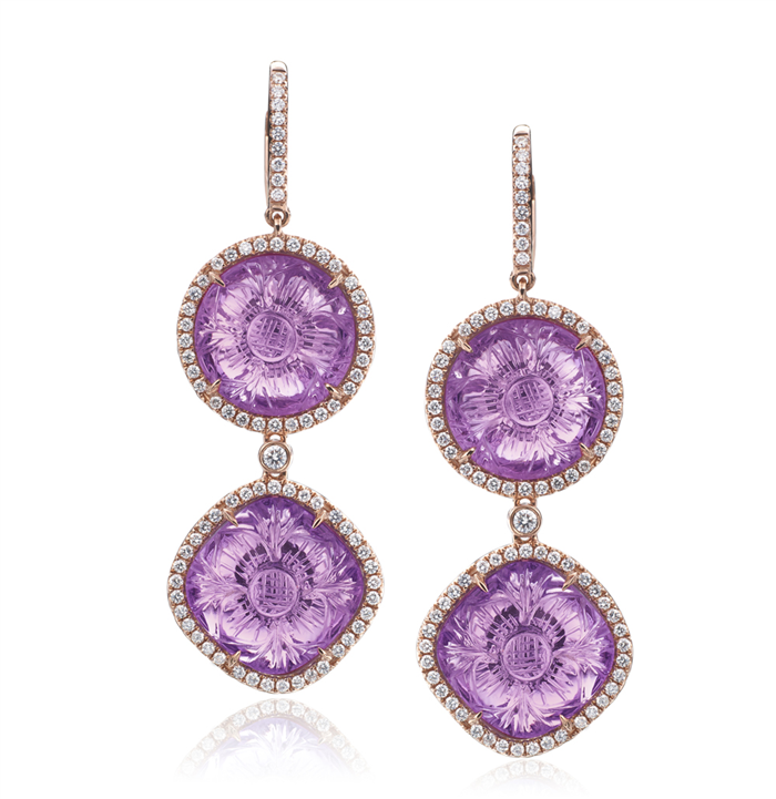 Carved Amethyst Dangling Earrings