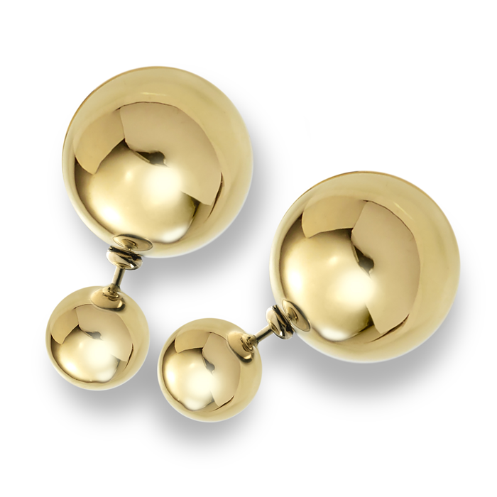 Gold double ball earrings