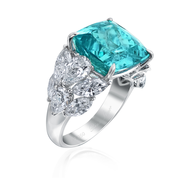 Platinum Paraiba and Diamond Ring