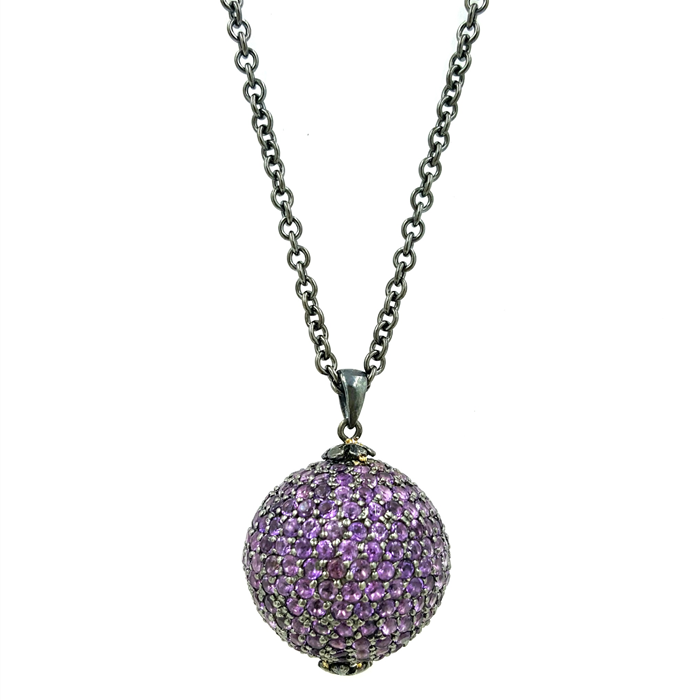 Amethyst Disco Pendant Necklace