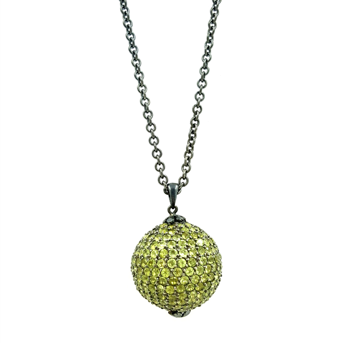 Peridot Disco Pendant Necklace