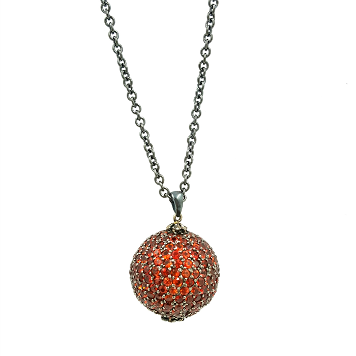 Red Sapphire Disco Pendant Necklace