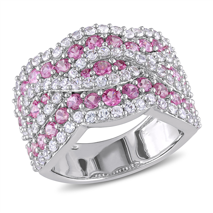 Pink and White Sapphire Infinity Ring