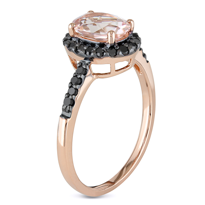 Morganite & Black Diamond Halo Ring