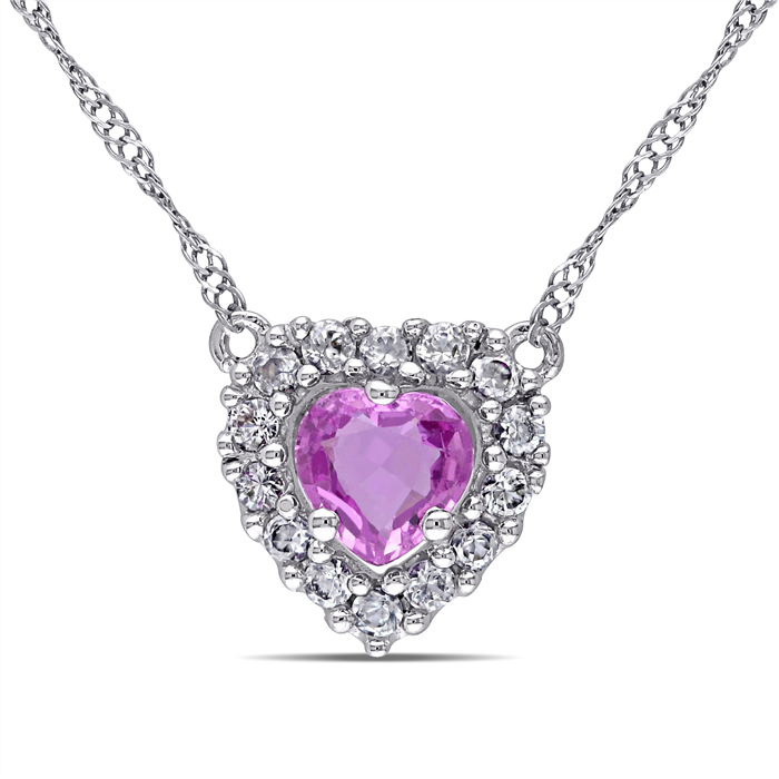 Pink & White Sapphire Heart pendant with Chain