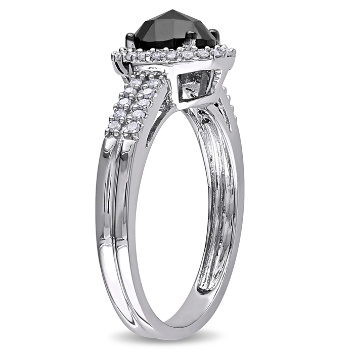 Black and White Oval Halo Ring
