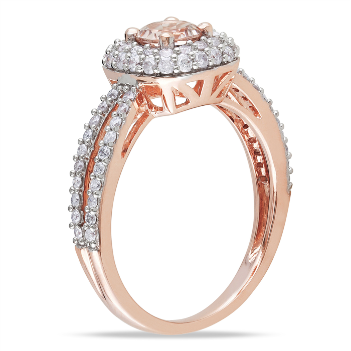 Morganite Halo Ring 2